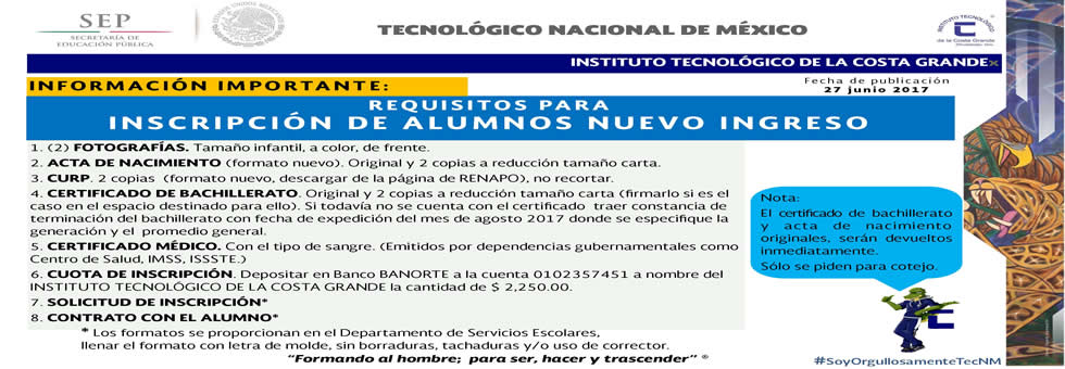 ¡REQUISITOS DE INSCRIPCION!
